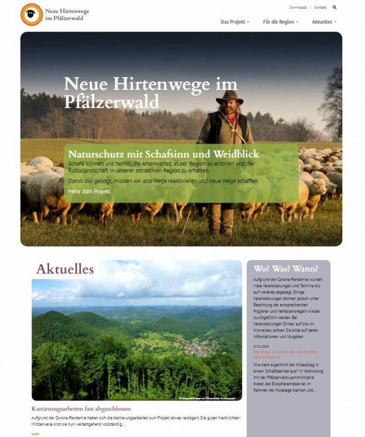 Screenshot der neuen Website zum Hirtenwege-Projekt