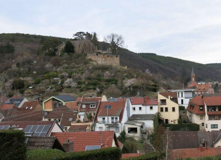 Das Foto zeigt den Blick auf das Dorf Haardt und das Haardter Schloss im Frühjahr 2021.