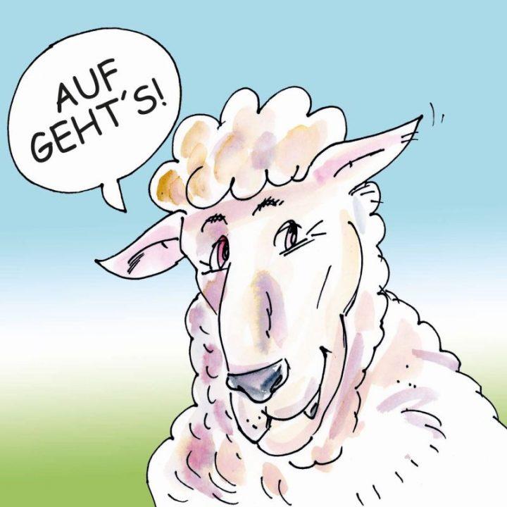 """Eine Illustration zeigt ein Schaf, das in einer Sprechblase sagt """"Auf geht's!"""""""