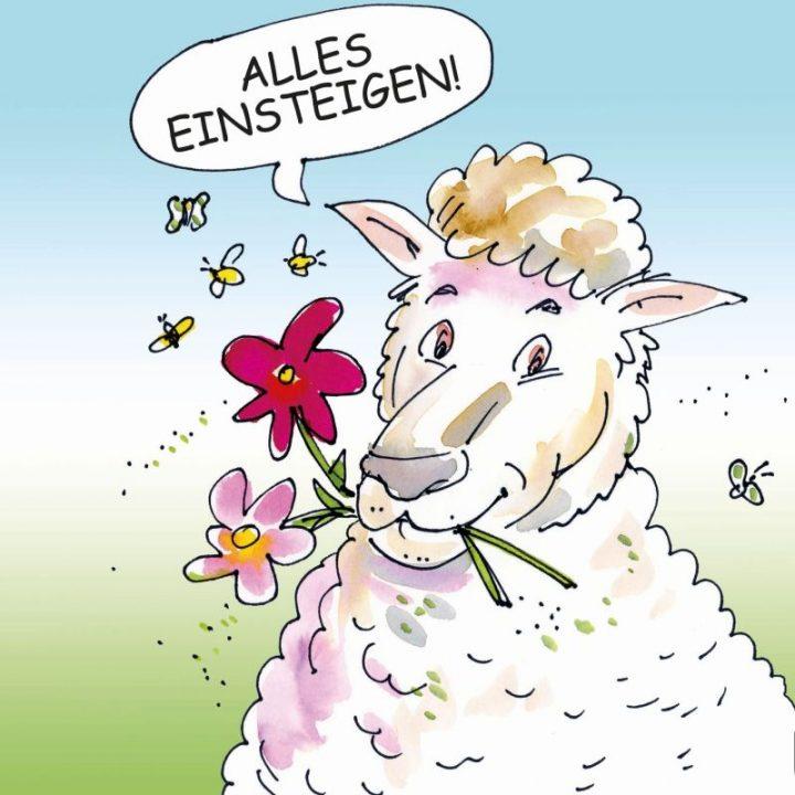 """Auf einer Illustration ist ein Schaf zu sehen, das auf Wildblumen herumkaut und in einer Sprechblase sagt """"Alles einsteigen"""""""