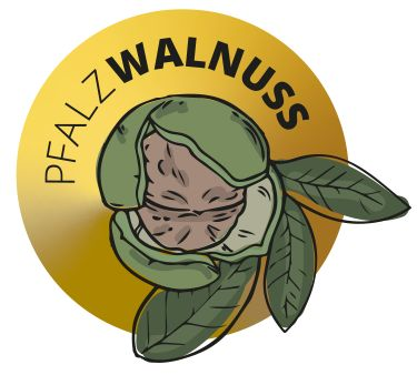 Das Bild zeigt das Logo von PfalzWalnuss, mit einer Walnuss in der Mitte
